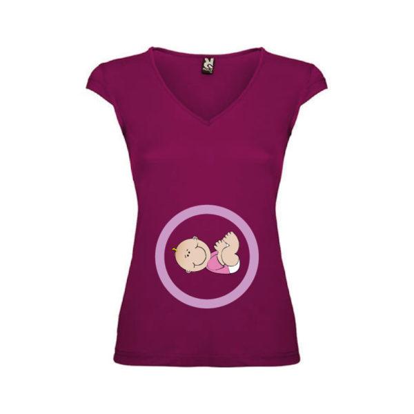T-shirt-Pregnant-Girl-Malva-Scuro-Donna