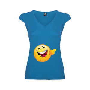 T-shirt-AhhAhh-Emoji-Blu-Oceano-Donna