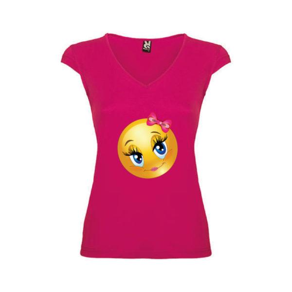 T-shirt-Pretty-Emoji-Rosa-Orchidea-Donna