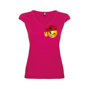 T-shirt-Vittoria-Emoji-Rosa-Orchidea-Donna